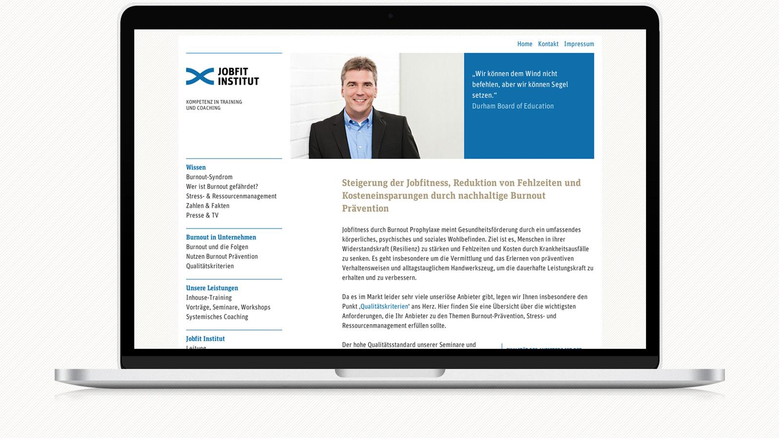 Respornsive Webdesign für Jobfit Institut
