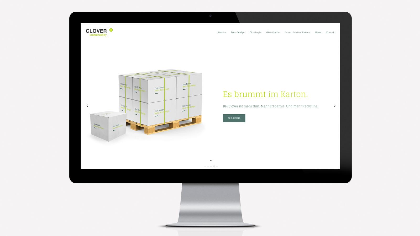Webseite für Verpackungsdesign