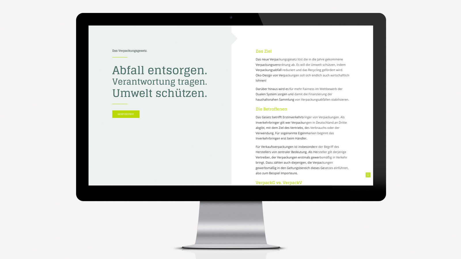 Webseite Verpackungsgesetz