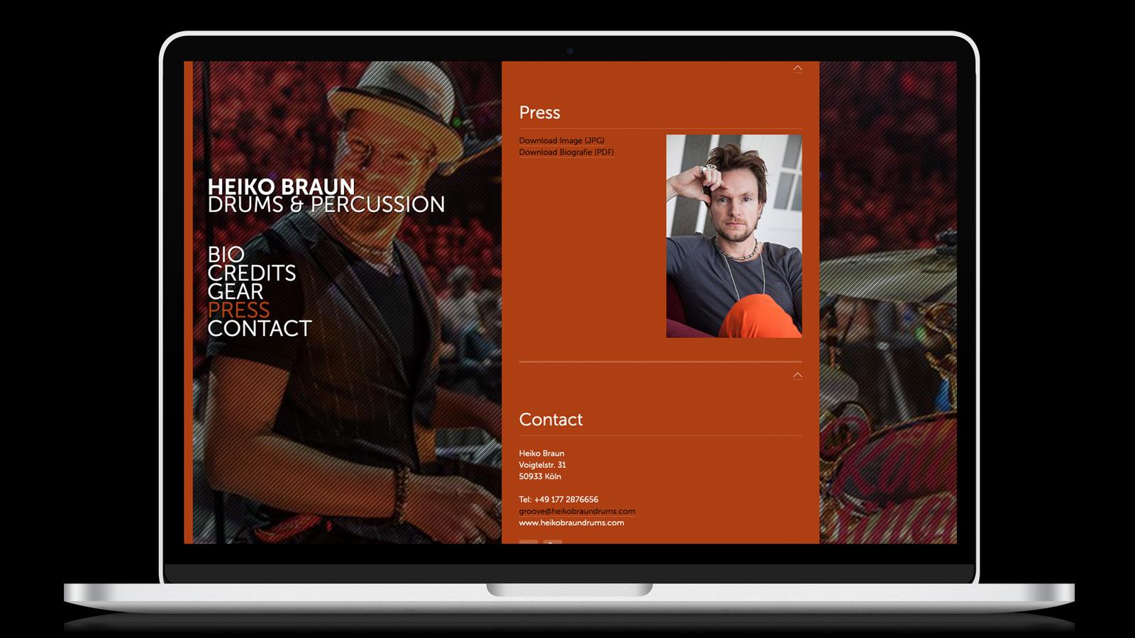 Heiko Braun Drummer Webdesign