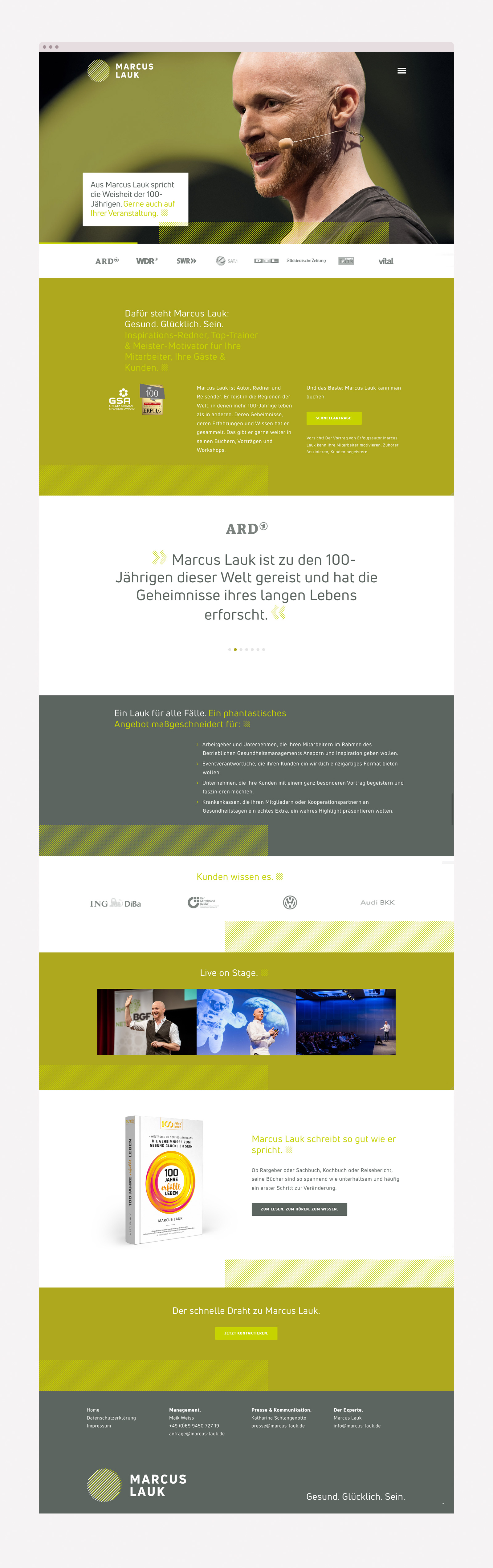 Long Scrolling Webdesign für Autor