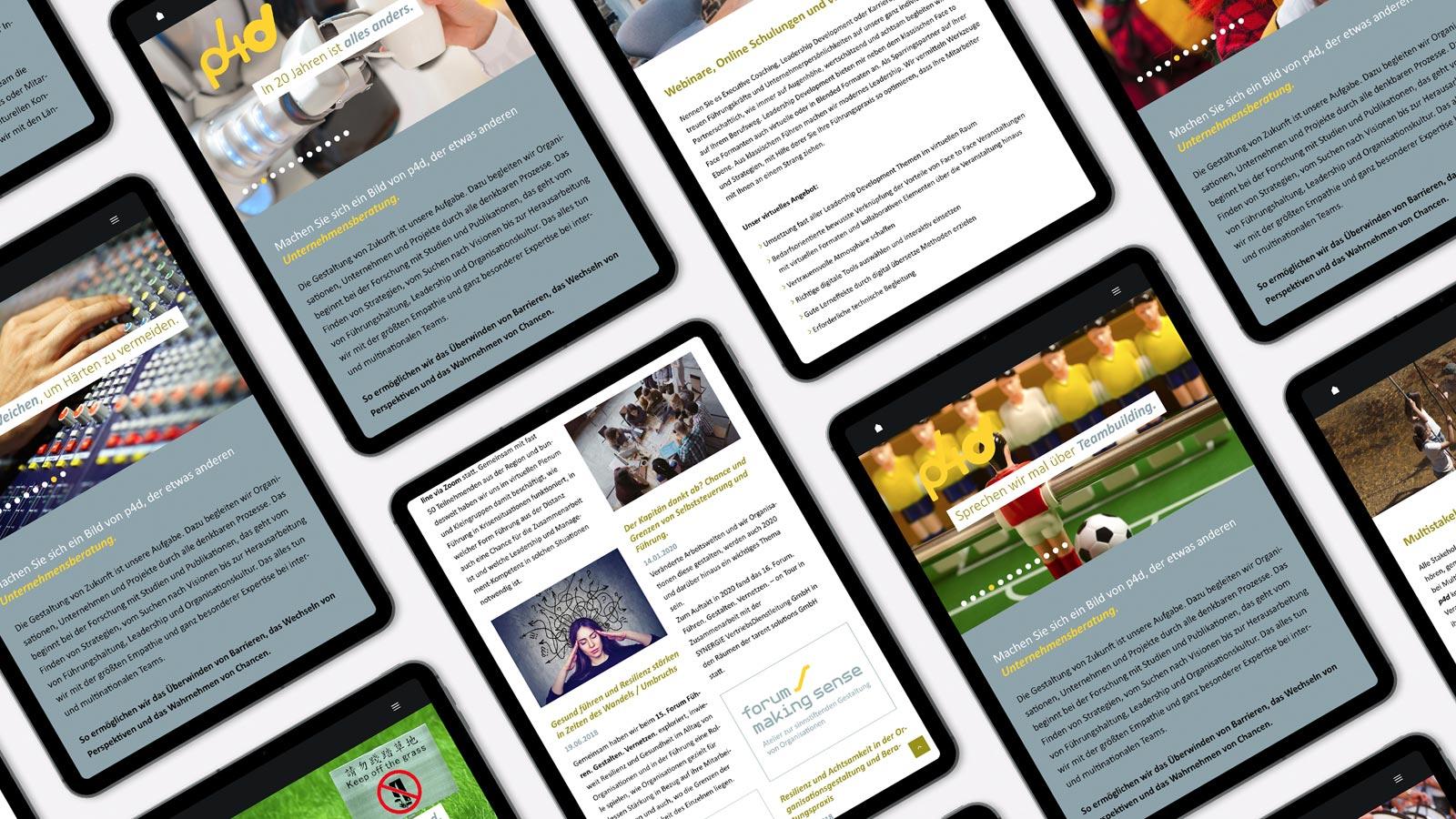 iPad Webdesign für p4d
