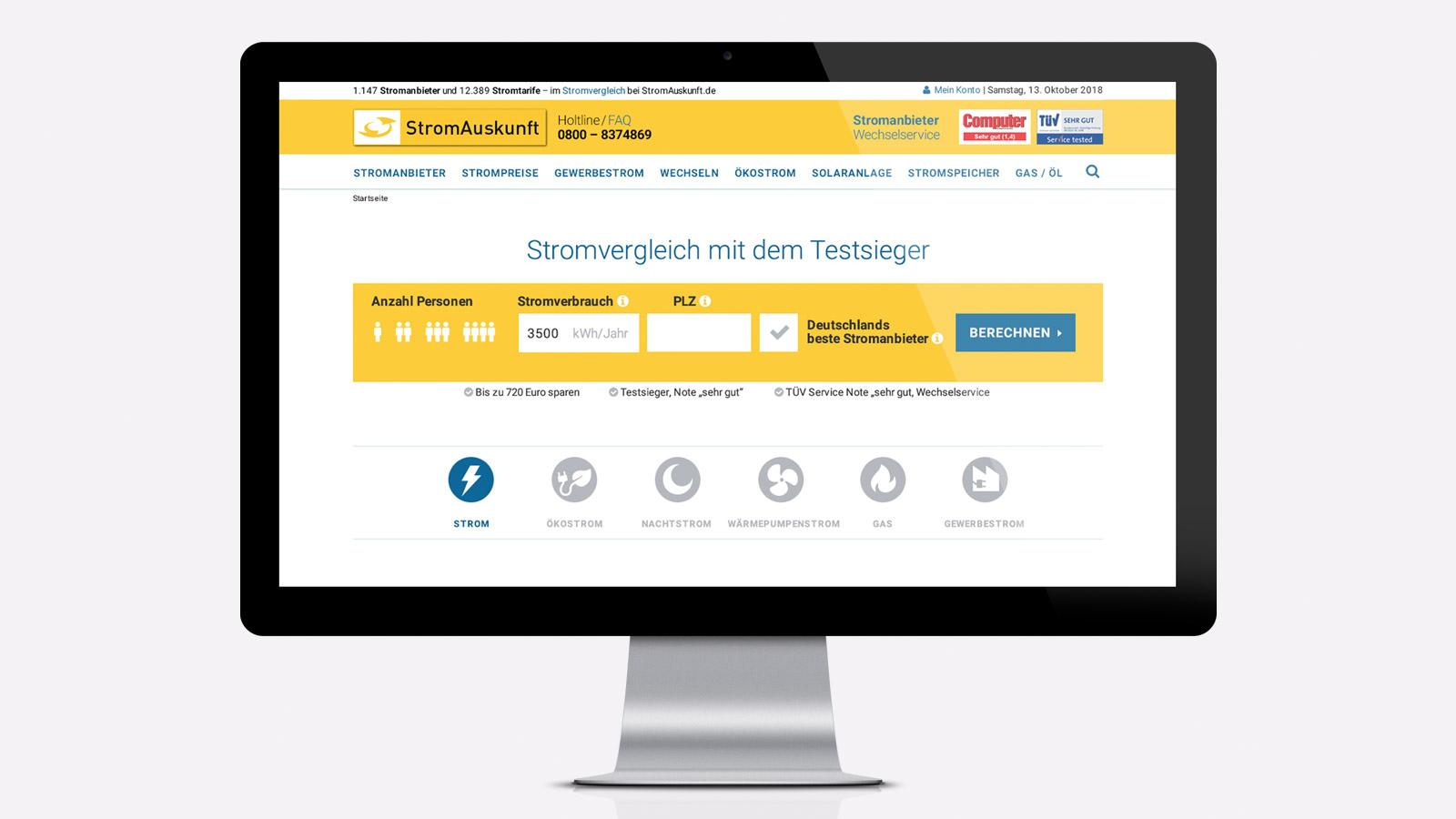 Webdesign für Stromauskunf